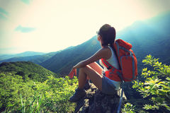 Young woman hiker enjoy the view Royalty Free Stock Images