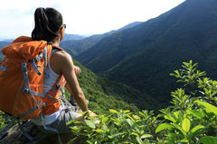 Young woman hiker enjoy the view Stock Images
