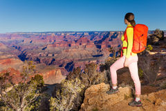 Young woman hiker in Grand canyon Stock Photos