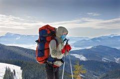 Young woman hiker hiking in Karpatian Royalty Free Stock Photo