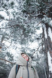 Young woman hiker looking up to pine branches in winter forest covered snow. Royalty Free Stock Photo