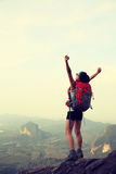 Young woman hiker at mountain top Royalty Free Stock Photo