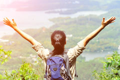 Young woman hiker moutain peak Royalty Free Stock Image