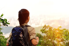 Young woman hiker moutain peak Stock Photography