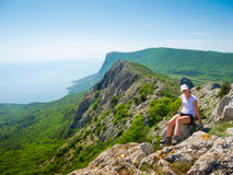 Young woman hiker portrait Stock Images