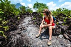 Young woman hiker stock photos