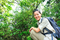 Young woman hiker in tropical jungle Stock Photography