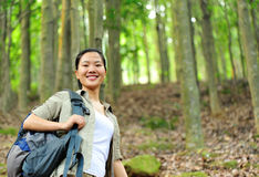 Young woman hiker in tropical jungle Royalty Free Stock Image