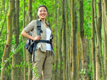 Young woman hiker in tropical jungle Royalty Free Stock Photos