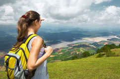 Free Young Woman Hiker With Backpack Standing On Top Of The Mountain Royalty Free Stock Photography - 53929057