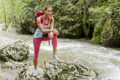 Young woman hiking in forest Royalty Free Stock Photos
