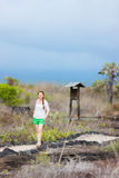 Young woman hiking at Galapagos islands Royalty Free Stock Photos