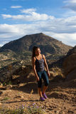 Young woman hiking Granite Mountain Royalty Free Stock Image