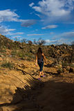 Young woman hiking Granite Mountain Royalty Free Stock Images