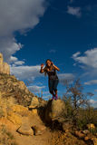 Young woman hiking Granite Mountain in Arizona Royalty Free Stock Photos