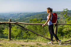 Young woman at hiking Stock Images