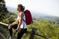 Young woman at hiking stock image