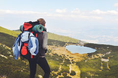 Woman hiking in mountain Stock Photos