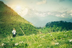 Young Woman hiking outdoor Travel Lifestyle concept Stock Photo