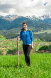 Young woman hiking portrait Stock Image