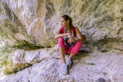 Young woman at hiking Royalty Free Stock Photography