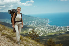 Young woman hiking smiling happy portrait. Royalty Free Stock Photography