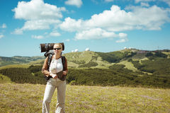 Young woman hiking smiling happy portrait. Stock Photo