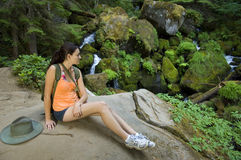 Young woman hiking in summer Stock Image
