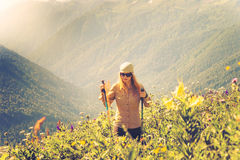 Young Woman hiking Travel Lifestyle concept Summer journey Stock Photo