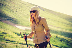 Young Woman hiking Travel Lifestyle concept Summer journey Royalty Free Stock Images
