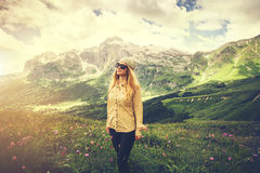 Young Woman hiking Travel Lifestyle concept Royalty Free Stock Photography