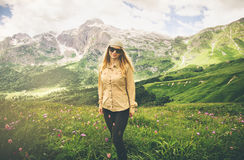 Young Woman hiking Travel Lifestyle concept Royalty Free Stock Photo