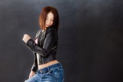 Young woman hip hop dancer on the background Royalty Free Stock Photography