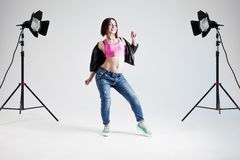 Young woman hip hop dancer, in the Studio on a Stock Photography