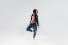 Young woman hip hop dancer with white background Stock Image