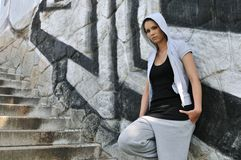 Young woman in hip hop style Royalty Free Stock Photo