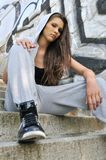 Young woman in hip hop style portrait Royalty Free Stock Photography