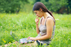 Young woman with his computer Stock Photo