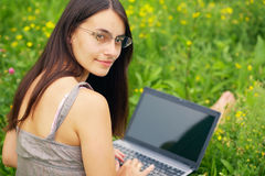 Young woman with his laptop Stock Photo