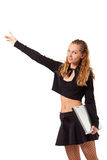 Young woman hitch hiking Stock Images