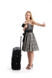 Young woman hitch hiking Stock Photography