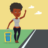 Young woman hitchhiking vector illustration. Royalty Free Stock Photo