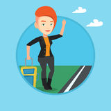 Young woman hitchhiking vector illustration. Stock Images