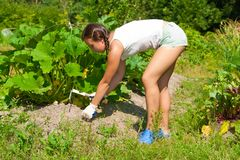 Young Woman With Hoe Stock Photos