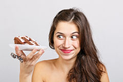 Young woman hold cake Royalty Free Stock Photography
