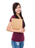 Young woman hold with clipboard Royalty Free Stock Image