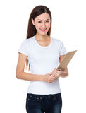 Young woman hold with clipboard Stock Photos
