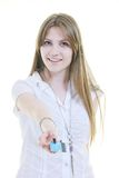 Young woman hold credit card Royalty Free Stock Photography