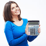 Young woman hold digital calculator. Female smiling model white Stock Photography
