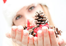 Young woman hold few cones in hand Royalty Free Stock Images